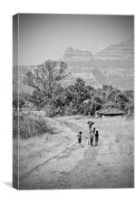 Eco Life under shadows of Shayadri Mountains, Canvas Print