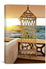 Sunrise hanging on a Rope chair, Canvas Print