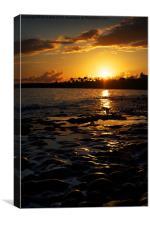 Sunset Reflects on Rocks, Canvas Print