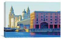Three Graces in Liverpool (Digital Art), Canvas Print
