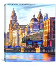 Royal Albert Dock And the 3 Graces, Canvas Print