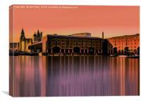 Royal Albert Dock And the 3 Graces (Digital Art), Canvas Print