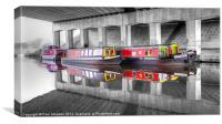 Canal Barges Under The Bridge, Canvas Print