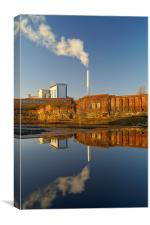 Incinerator Reflections in River Don, Canvas Print