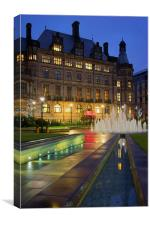 Sheffield Town Hall and Goodwin Fountain at Night , Canvas Print