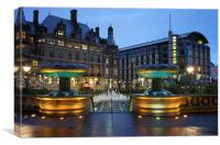 Sheffield Town Hall and Peace Gardens at Night , Canvas Print