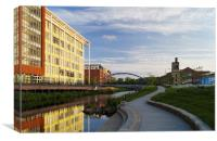 Pocket Park and River Don, Sheffield , Canvas Print