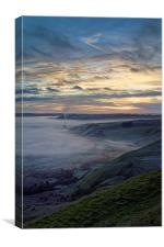 Hope Valley Inversion and Sunrise , Canvas Print