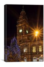 Sheffield Town Hall at Christmas , Canvas Print