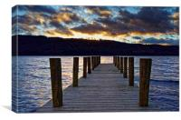 Windermere Boat Jetty Sunset                      , Canvas Print