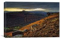 Win Hill and Bamford Edge                         , Canvas Print