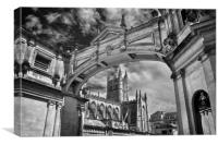 Bath Abbey and Arch in Mono                      , Canvas Print