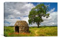 Stone Hut & Tree, Baslow, Derbyshire              , Canvas Print
