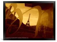 Eiffel Tower, Paris, in sepia., Framed Print