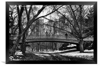 Central Park in the snow with a policeman, Framed Print