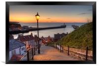Whitby Steps - Orange Glow Landscape, Framed Print
