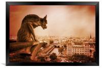 Paris Guardian - Notre Dame Gargoyle, Framed Print
