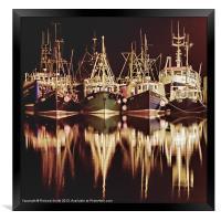 Fishing fleet at Portree pier, Framed Print