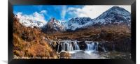 Looking over a waterfall up Coire na Creiche, Framed Print