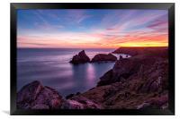 Sunset over Kynance Cove, Framed Print
