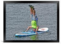 Paddle board instructor showing off, Framed Print