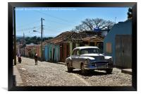 Silver old-timer in a Trinidad, Cuba, Framed Print