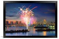 Tokyo Bay Fireworks, Framed Print