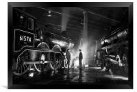 Steam loco crew stop for a chat at night., Framed Print