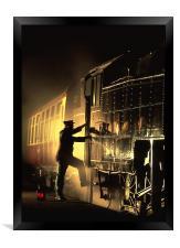 Fireman in Silhouette, Framed Print