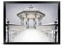 Bandstand in the snow, Framed Print