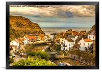 Staithes the popular view, Framed Print