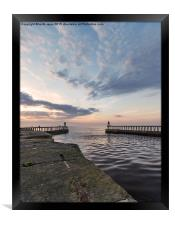 East and West piers Whitby, Framed Print