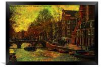 I AMsterdam. Vintage Amsterdam in Golden Light, Framed Print