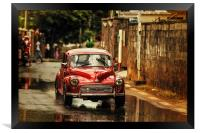 Red RetroMobile. Morris Minor, Framed Print