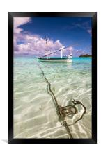 Moored Dhoni. Maldives, Framed Print