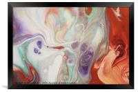 Alien Worlds. Abstract Fluid Acrylic Painting, Framed Print