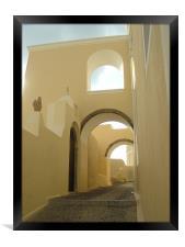 Santorini, Greece, Arches and Cobblestones, Framed Print
