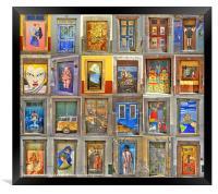 Funchal Door Art Collage., Framed Print