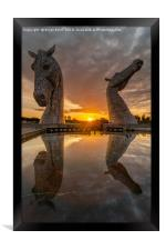 Sunset at the Kelpies, Framed Print