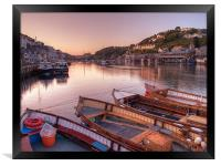 The sun goes down at Looe, Framed Print