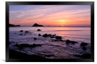 Meadfoot Beach Sunrise looking towards Thatcher Ro, Framed Print