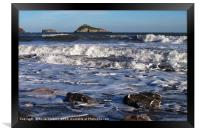 Waves roll in at Meadfoot Beach Torquay, Framed Print