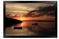 Sunset And Boats At Trondra, Framed Print