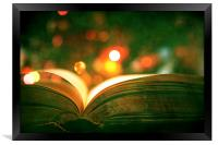 Open Book With Lights Bokeh, Framed Print