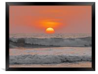 Bali : Sun Sets Over The Sea, Framed Print
