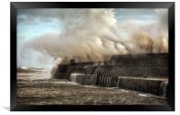 Hurricane Ophelia hits Porthcawl pier, Framed Print