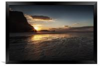 Sunset and wet sand at Worms Head, Framed Print