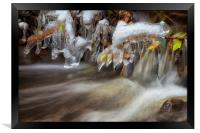 Icicles in a stream, Framed Print