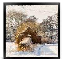 Barn and snow, Framed Print