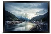 Cougar Reservoir on a Snowy Day, Framed Print